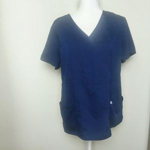 Greys Anatomy Blue 3 Pocket Mock Wrap Scrub Top